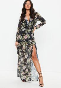 robe-longue-noire-imprim-fleuri