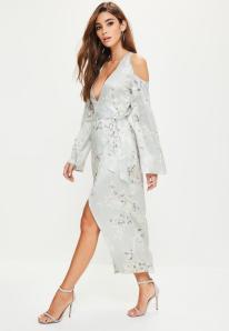 robe-midi-grise--imprim-floral-style-kimono--paules-dnudes